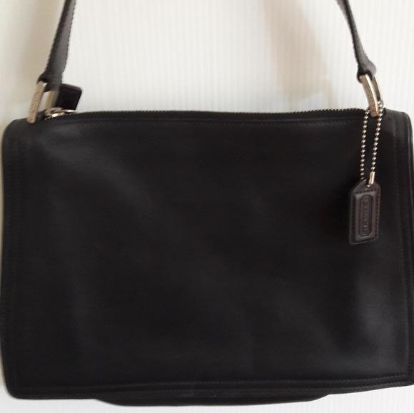 Coach Handbags - Coach Black Leather Handbag Purse H92-6145